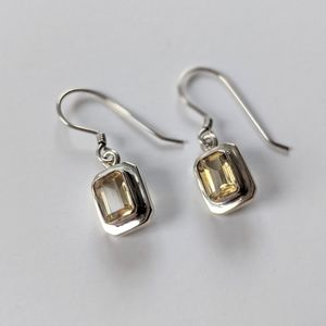 Sterling Earrings With Citrine Yellow Stones